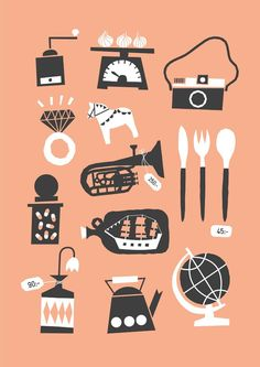 Loppisfynd - Sandra Raninen, illustration, graphic, simple, design, objects, peach