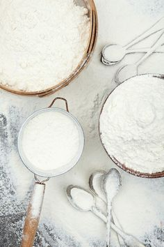 White flour and baking ingredients