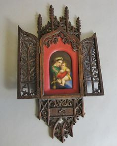 Antique German Hand-Painted Mary & Jesus in Carved Black Forest Frame  c. 1880