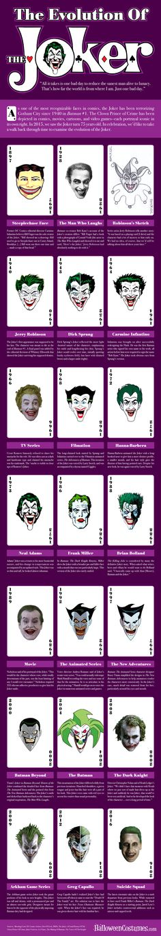 No supervillain embodies pure evil, anarchy, and chaos quite like The Joker. Batman and the Joker have been foes since Batman in and the Crown Prince of Crime has changed much since then. Explore how the Joker has evolved with this awesome infographic. Comic Book Characters, Comic Character, Comic Books Art, Dc Comics Art, Marvel Dc Comics, Univers Dc, Nemo, Im Batman, Batman Stuff