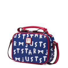 Dark Blue Mini Bag With Red Element And White Print