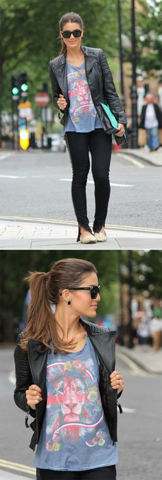 Jaqueta: Zara / T-shirt: F*Hits Shops / Calça: La Paiva / Loafers: Steve Madden / Maxi Clutch: Zara / Óculos: Vers
