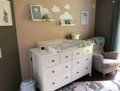 We chose IKEA Hemnes as a baby changing table and a matching . - We chose IKEA Hemnes as a changing table and bought a matching changing mat. A cute changing mat by - Baby Room Boy, Baby Bedroom, Baby Changing Table, Changing Mat, Ikea Hemnes Changing Table, Baby Zimmer, Ikea Kids, Malm, Dresser As Nightstand