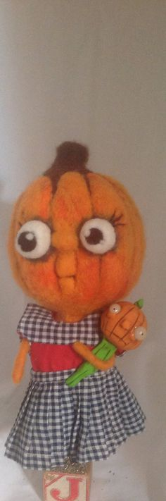 Jackie lantern needle felted LARGe art doll by papermoongallery, $89.00