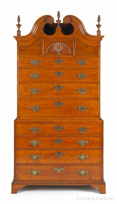 "Chippendale tiger maple chest on chest, the base ca. 1770, the top later, 84"" h., 39 1/2"" w."