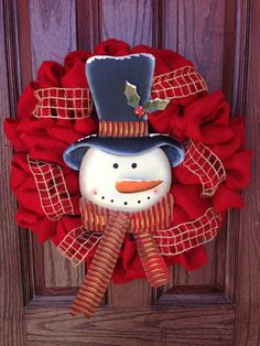 Hey, I found this really awesome Etsy listing at https://www.etsy.com/listing/167606251/red-burlap-christmas-wreath-with-snowman