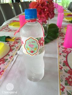 Dimequesi 's Birthday / Flamingos - Photo Gallery at Catch My Party Flamingo Photo, Flamingo Birthday, Minnie, Birthday Parties, Bottle, Party Ideas, Costume Dress, Oreo Bars, Tropical Party Decorations