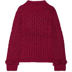 ELEVEN SIX Lorena fringed cable-knit alpaca-blend sweater (€545) ❤ liked on Polyvore featuring tops, sweaters, jumper, burgundy, purple top, purple sweater, cable crewneck sweater, loose sweater and cable knit crew neck sweater