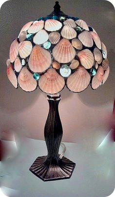 Table Lamp Pink  Seashells Stained Glass by Eastvillageartisans, $185.00