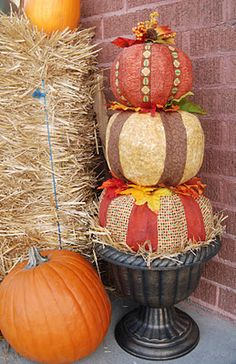 paper mache pumpkins (newspaper, flour, water)