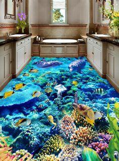 gloverjoshua Vivid Modern Design Colorful Fishes in the Coral Pattern Waterproof Floor Murals 3d Floor Painting, Mural Painting, Floor Murals, Floor Art, Wall Murals, Epoxy Floor Designs, Pool Designs, Floor Wallpaper, Wallpaper Murals