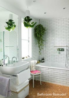Bathroom Remodel Ideas Tan Spa Like Bathroom, Bathroom Plants, Bathroom Ideas, Bathroom Designs, Bathroom Green, Jungle Bathroom, Small Bathrooms, Bathroom Remodeling, White Bathrooms