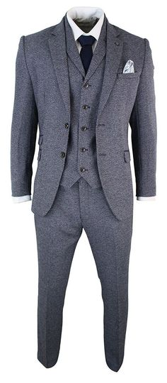 1920s Mens Suits | Gatsby, Gangster, Peaky Blinders Marc Darcy Mens 3 Piece Herringbone Tweed Tailored Fit Blue Grey Formal Suit Peaky Blinders $149.99 AT vintagedancer.com #mens3piecesuits