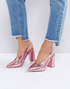 Metallic Pointed Sling Back Heels #jadealyciainc www.jadealycia.com