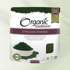 Organic Traditions Spirulina Powder - Spirulina is a fresh water green microalgae. One of the most nourishing superfoods known, it contain Superfood Recipes, Raw Food Recipes, Vegetarian Recipes, Spirulina Powder, Sources Of Vitamin A, Vegetarian Protein, Vegan Dishes