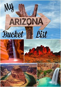 Arizona Bucket List – 12 Reasons to Visit Arizona 1. Hole in the Rock at Papago Park 2. Grand Canyon 3. Coyote Buttes 4. Antelope Canyon 5. Havasu Falls 6. Lost Dutchman  7. Phoenix Art Museum 8. Schnepfe Farms 9. Queen Creek Olive Mill 11. Tovrea Castle 12. Changing Hands Bookstore