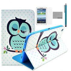 coco fun® slapende uil patroon pu lederen flip stand case met film en stylus voor de samsung galaxy tab 3 8.0 T310 - EUR €21.84