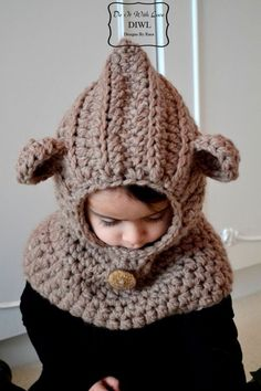 """Crochet Baby Hats ❤ Crochet PATTERN - Bear Hooded Cowl """"Luxury"""" ❤"""
