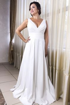 Sell Simple V-Neck White Wedding Dress with Pleats in white/ivory online which is of great quality, made of satin, featuring v neckline and stunning pleats on the top. Ruched Wedding Dress, Off White Wedding Dresses, Inexpensive Wedding Dresses, V Neck Wedding Dress, Classic Wedding Dress, Bridal Dresses, Casual Wedding, Wedding Vows, Fall Wedding