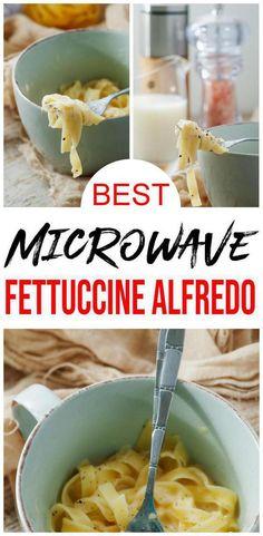 Microwave Mug Recipe – Easy Microwave Fettuccine Alfredo Mug Meals For One – Simple Cooking - Gema Rackham Microwave Mug Recipes, Microwave Food, College Microwave Recipes, College Food Recipes, Quick Dinner Recipes, Quick Easy Meals, Lunch Recipes, Fettuccine Alfredo, College Meals