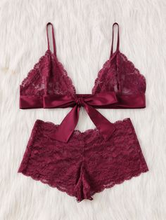 Tie Front Lace Bralette And Pantie Lingerie Set -SheIn(Sheinside) Pajamas  Women e2b9fcc57