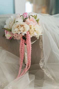 Gorgeous white & pink cascading bouquet