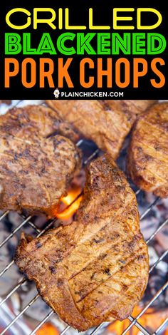 Grilled Blackened Pork Chops – the BEST pork chops EVER! SO much amazing flavor! Pork chops are marinated overnight in… Pork Rib Recipes, Grilling Recipes, Meat Recipes, Yummy Recipes, Chicken Recipes, Plain Chicken Recipe, Bbq Pork Ribs, Smoking Recipes, Smoked Pork