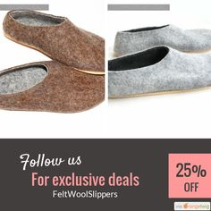 Brown Gray Felted Shoes Wool Slippers Christmas In July