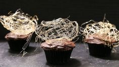 Spin elegantly spooky webs atop decadent Halloween cupcakes to concoct easy party treats