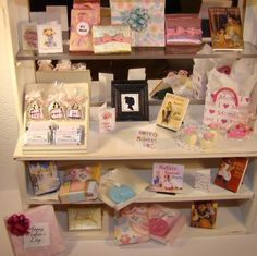 """TheFabulousFarmhouse.com 1/12"""" Scale Miniature Dollhouse Mother's Day Display wrapped gifts bags chocolate"""
