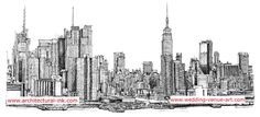 Hand drawn New York city skyline in pen and ink. These prints are available here http://www.architectural-ink.com/and you can also purchase this image on Zazzle products http://www.zazzle.com/architecture_ink