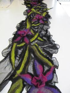 Nuno Felt scarf with 3D flowers by Fabulous felt frolics /xena feltwoman, via Flickr