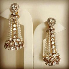 Soliatires starting at Rs. available exclusively at Talwar Jewellers Bridal Earrings, Bridal Jewelry, Gold Jewelry, Jewelery, Stylish Jewelry, Fashion Jewelry, Indian Wedding Jewelry, Indian Bridal, India Jewelry