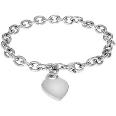 IBB Personalised Sterling Silver Heart Charm Belcher Bracelet (3.585 CZK) ❤ liked on Polyvore featuring jewelry, bracelets, sterling silver heart charm, sterling silver initial charms, heart charm, engraved charms and charm bangle