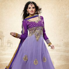 Light #Purple Faux Georgette #Anarkali Churidar Kameez