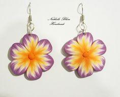 Pendientes de flores lila/naranja de Nathalie Blum Handmade por DaWanda.com