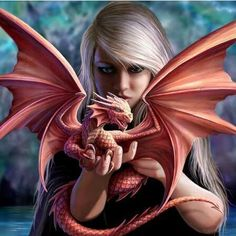 Anne Stokes, Dragon Girl, Baby Dragon, Fantasy Dragon, Fantasy Art, Dragons, Neon Flowers, 3d Pictures, Dragon Pictures