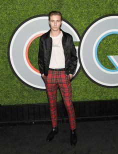 Lucky Blue Smith wears Burberry tartan trousers to the GQ Men of the Year 2017 Awards in Los Angeles