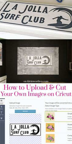 When deciding what cutting machine is best, you way wonder, Can I Upload My Own Images to Cricut? YES- you can & I'm sharing how in this Surfer Sign Craft. via @KleinworthCo AD @Cricut