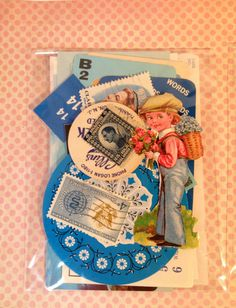Mini Ephemera Pack 24 Piece Small Blue Inspiration by TheBrownPear