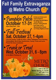 Metro Church Fall Events: Pumpkin Patch, Cider & Marshmallow Roast, Fall Festival, Trunk or Treat. Join us for everything!