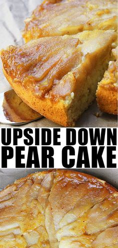 UPSIDE DOWN PEAR CAKE RECIPE- Quick, easy, fresh, spiced, soft, moist, made with simple ingredients and simple caramel sauce, white chocolate decoration on top. It's the perfect Fall/Autumn dessert or Thanksgiving dessert. From CakeWhiz.com #cake #dessert #recipe #pears #upsidedown #baking #recipe #fruit
