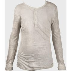 Balmain Long-sleeved Linen Henley Tee-shirt ($305) ❤ liked on Polyvore featuring men's fashion, men's clothing, men's shirts, white, mens henley shirts, balmain mens clothing, henley sweatshirt men's clothing, mens linen shirts and mens crew neck t shirts