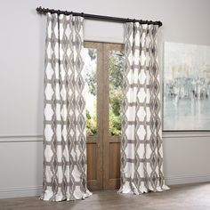 Exclusive Fabrics Sarong Grey Printed Cotton Pole Pocket Curtain Panel | Overstock.com Shopping - The Best Deals on Curtains
