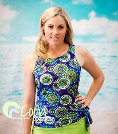 Coola Cozzies women's swim top in sizes 10 to 24. Beach Belle.  #womensswimwear #swimwear #coveredswimwear