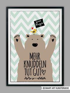 """Originaldruck - """"MEHR KNUDDELN"""" Kunstdruck, Geschenk - ein Designerstück von Smart-Art-Kunstdrucke bei DaWanda"""