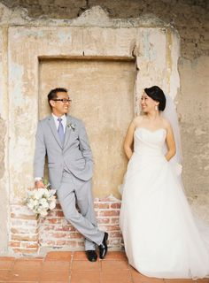 Bride + Groom at their San Juan Capistrano Wedding. Great shot! See the wedding on SMP: http://www.stylemepretty.com/2014/02/05/san-juan-capistrano-wedding-at-the-franciscan-gardens/ Desi Baytan Photography