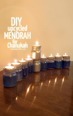 Anyone can make this DIY Upcycled Chanukah Menorah (for Hanukkah)! Come read the easy, step by step instructions. Hanukkah Crafts, Hanukkah Decorations, Hanukkah Menorah, Hannukah, Stage Decorations, Crayola Air Dry Clay, Diy For Kids, Crafts For Kids, Canning Jar Lids
