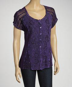 Take a look at this Purple Embroidered Button-Up Top by Shabri Fashions on #zulily today! I have a purple theme going for some reason.