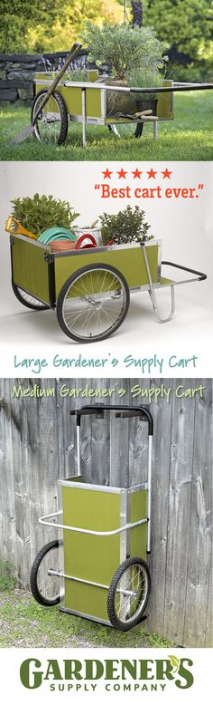 A favorite tool of gardeners everywhere, our carts were designed to meet the needs of gardening, not adapted from an industrial utility cart. The pneumatic wheels; high sides. The axle is positioned to distribute the weight and balance the load. The long handle lets you push or pull with ease and has a comfortable neoprene grip. Rust-proof aluminum frame; end slides open for easy dumping. Once you own one of our carts, it's hard to imagine getting by without it. Large and Medium; 3 colors.